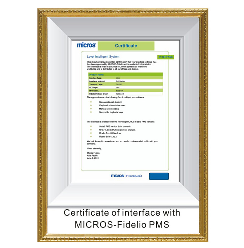 Micros-Fidelio interface certificate